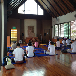 Awareness Meditation workshop at the Palelai Buddhist Temple in Bedok, Singapore.