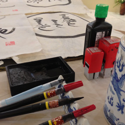 Ink, brush, stamp and rice paper